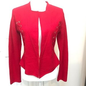 CACHE 100% Wool Jacket with Braid Detail M
